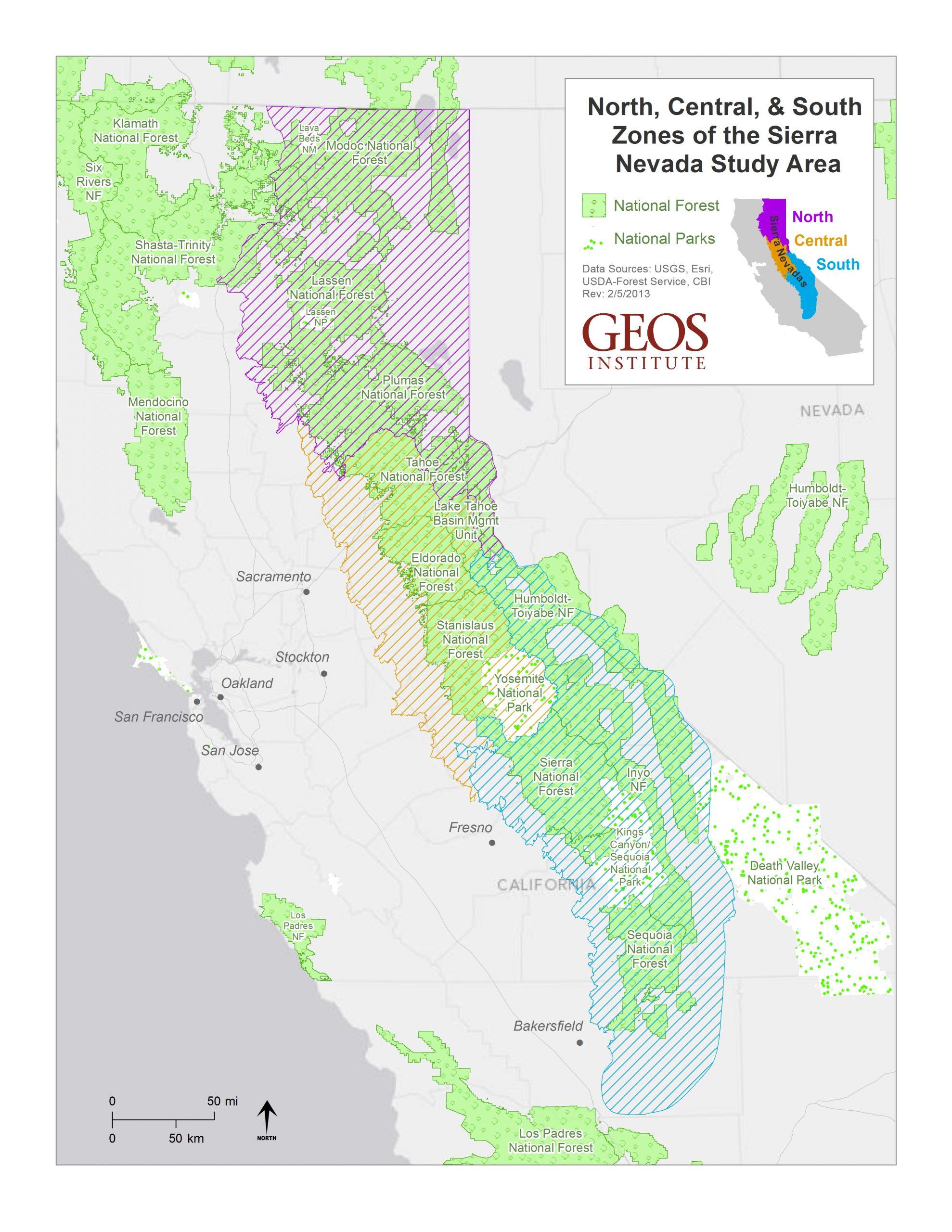 sierra nevada map project area